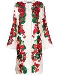 Dolce & Gabbana Manteau à fleurs - Blanc