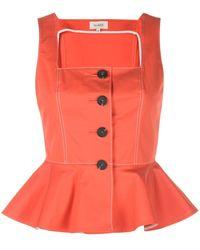 Isa Arfen Button Peplum Top - Orange