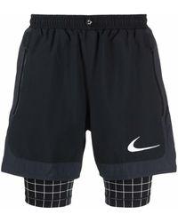 NIKE X OFF-WHITE Layered Checked Track Shorts - Black
