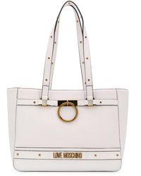 Love Moschino Sac cabas clouté à plaque logo - Blanc