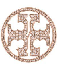 Tory Burch クリスタル ロゴ ブローチ - ピンク