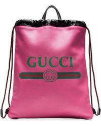Gucci - プリント レザー ドローストリング バックパック - Lyst