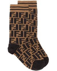 Fendi Ff Logo Socks - Brown