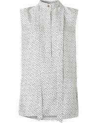 Burberry Рубашка С Монограммой И Завязками На Воротнике - Белый