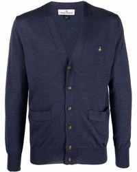 Vivienne Westwood Cardigan Man à logo brodé - Bleu