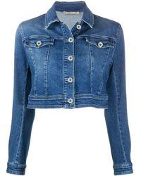 Patrizia Pepe Cropped Denim Jacket - Blue