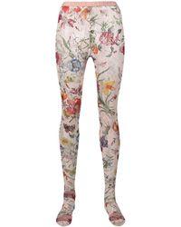 Gucci Кружевные Колготки С Цветочным Принтом - Розовый