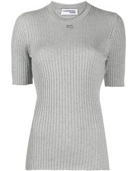 Courreges Logo-patch Ribbed Top - Grey