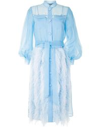 Huishan Zhang Feather-trimmed Shirt Dress - Blue
