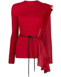 Sacai Jersey con diseño patchwork asimétrico - Rojo