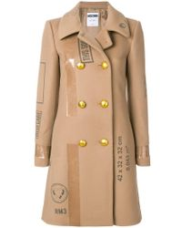 Moschino - Patch Print Double Breasted Coat - Lyst