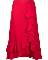 L'Autre Chose Ruffle-embellished A-line Skirt - Red