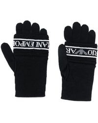 Emporio Armani Knitted Logo Gloves - Black