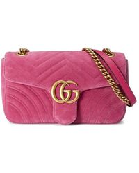 Gucci - GG Marmont Chevron Velvet Shoulder Bag - Lyst