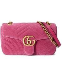 32c8d976d96d Lyst - Gucci Gg Marmont Velvet Shoulder Bag in Blue - Save 20%