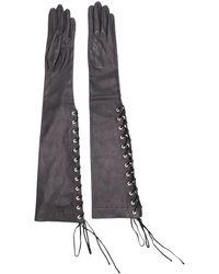 Unravel Project レースアップ ロング手袋 - ブラック