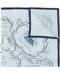 Hermès Sciarpa Lary Decrire - Blu