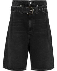 Agolde Reworked '90s Belted Denim Shorts - Black