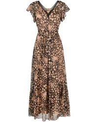 Twin Set Платье Макси С Цветочным Принтом - Черный
