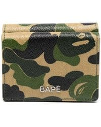 A Bathing Ape Logo-plaque Camouflage Leather Wallet - Green