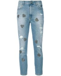History Repeats - Heart Appliqué Cropped Jeans - Lyst