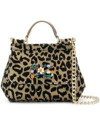 3b233e768ddb Lyst - Dolce   Gabbana Cat Print Box Bag in Black