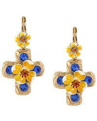 Dolce & Gabbana - Crystal Cross Drop Earring - Lyst
