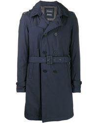 Herno Zweireihiger Mantel mit Gürtel - Blau