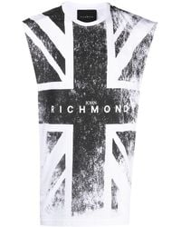 John Richmond Faded Flag Tank Top - White