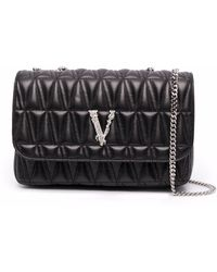 Versace Virtus Crossbody Satchel Bag - Black