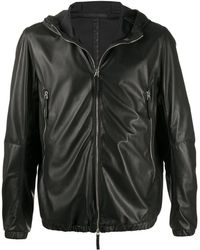 Giuseppe Zanotti Hooded Leather Jacket - Black