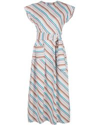 Isa Arfen Robe longue à rayures - Blanc