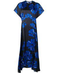 Nina Ricci フローラル アシンメトリードレス - ブルー
