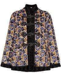 Gucci Sequin Embellished Faux Fur Coat - Black