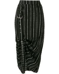UMA   Raquel Davidowicz Damon Striped Crinkled Midi Skirt - Black