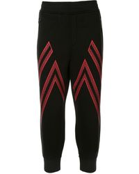 Neil Barrett Zigzag Patterned Cropped Track Trousers - Black