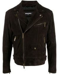 DSquared² Suede Biker Jacket - Brown