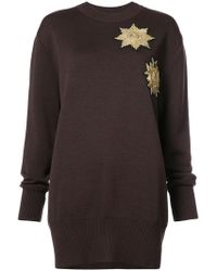 Vera Wang - Metallic Patches Loose-fit Jumper - Lyst