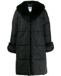 Moschino Logo Printed Puffer Coat - Black