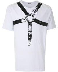 À La Garçonne ストラッププリント Tシャツ - ホワイト