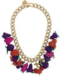 Mercedes Salazar Woven Fruit Necklace - Multicolour