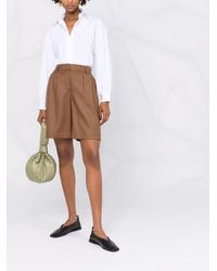 PT01 Pantalones cortos de talle alto - Marrón