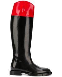 Alexander McQueen Stiefel mit kontrastierendem Schaft - Schwarz