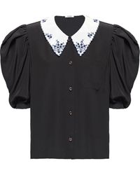 Miu Miu パフスリーブ シルクシャツ - ブラック