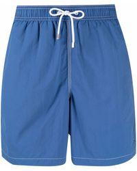 Hackett Logo-patch Flap-pocket Swim Shorts - Blue