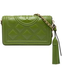 Tory Burch - Fleming Embossed-logo Quilted Crossbody Bag - Lyst