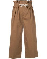 Dondup Cropped-Hose mit Paperbag-Taille - Braun