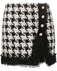 Liu Jo Falda de tweed con motivo de pied de poule - Negro