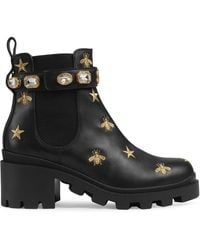 Gucci - Embroidered Leather Ankle Boot With Belt - Lyst