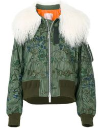 Sacai | Shearling Cropped Bomber Jacket | Lyst